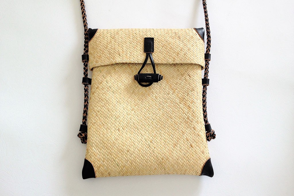 Men Women Shoulder Bag in Genuine Rattan & Leather - BORNEO Men Purse
