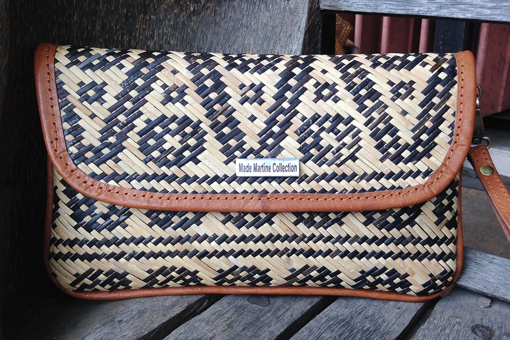 Rattan & Leather Woman Clutch Bag - BORNEO