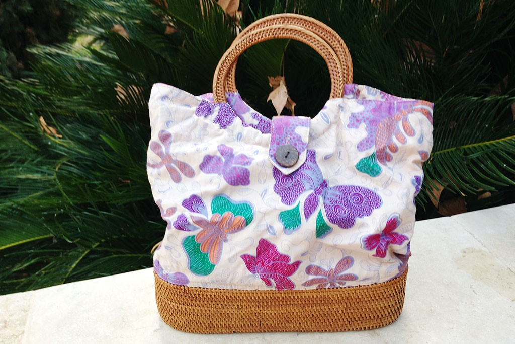 Woman Bag Batik Fabric - BAGGY Mauve