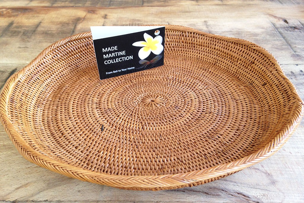 ATA grass Table Basket Rattan Basket Tray Round Plain - WARU JUMBO