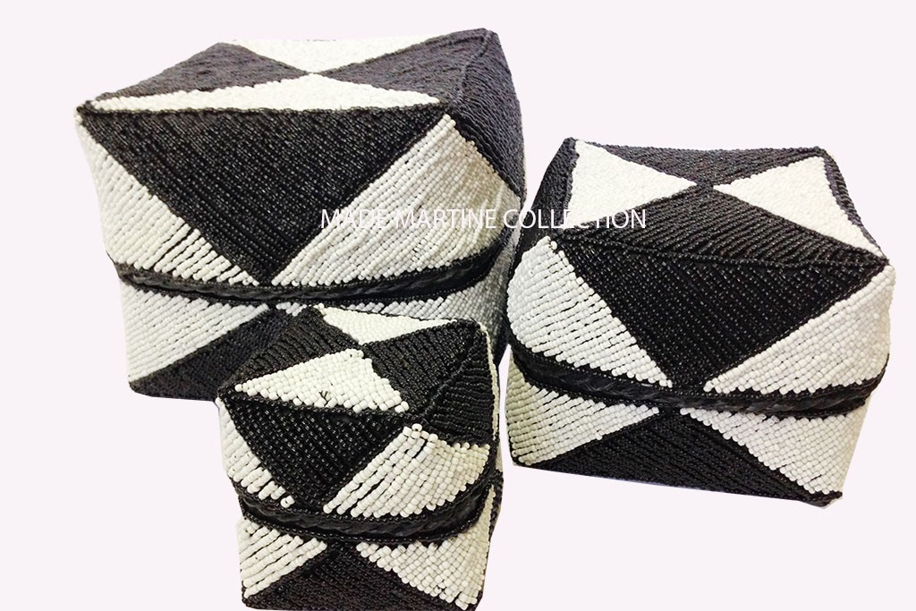 Bamboo Beads Boxes (Set of 3) - B/W