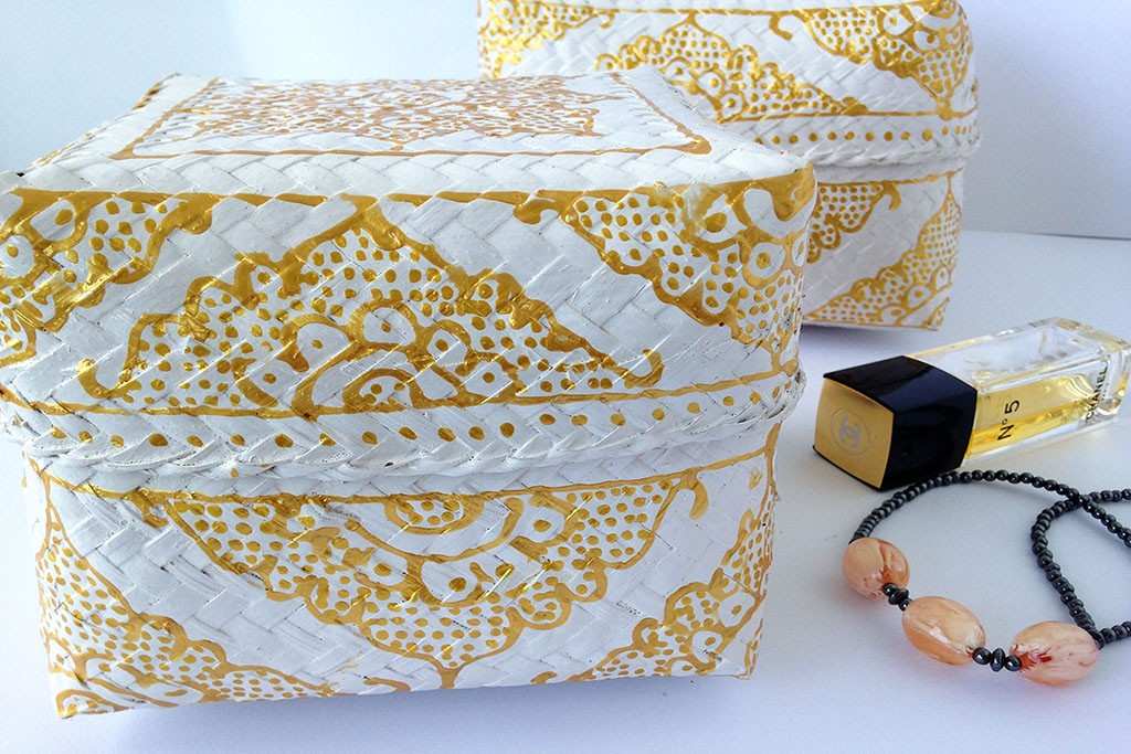 Bamboo Baskets-Boxes White / Gold / Silver (Set of 3) - CEREMONY