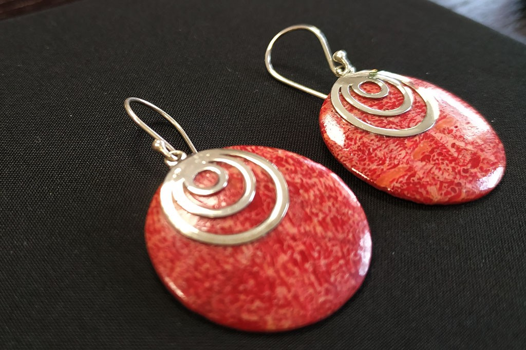 Earrings Red Coral Seashell - RONDO