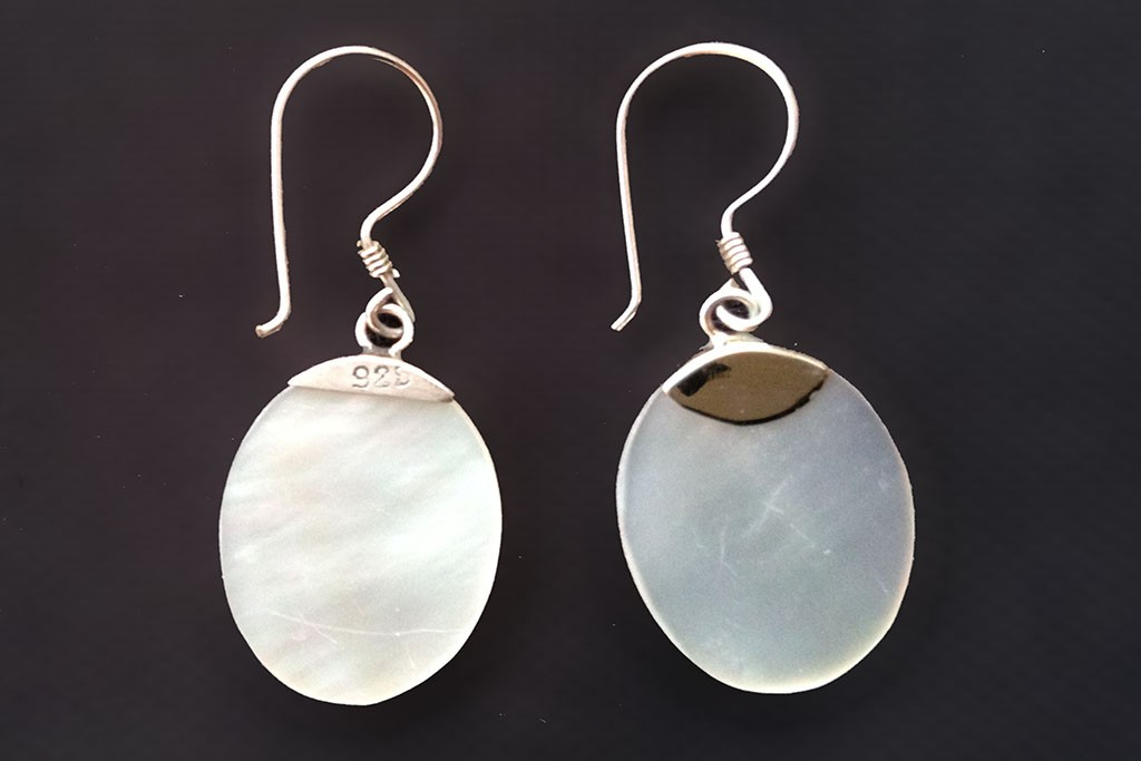 Earrings White MOP and Silver 925 - DROP