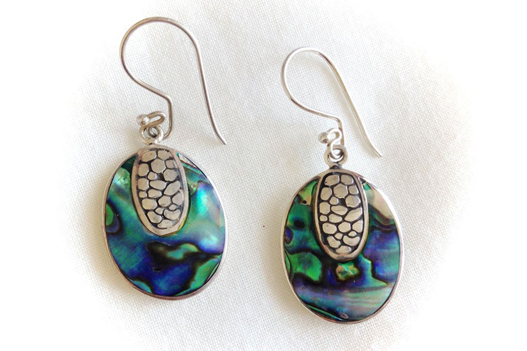 Earrings Abalone Seashell and Silver 925 - TURTLE